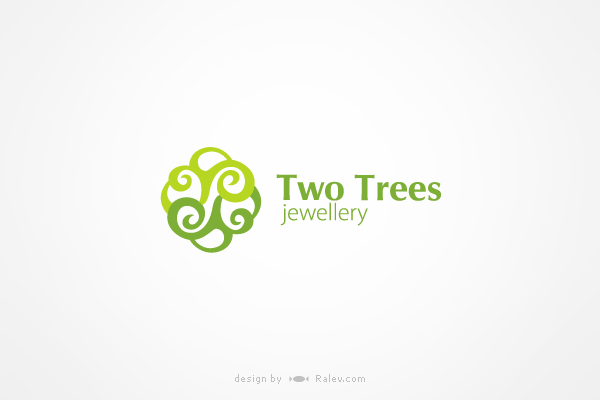 two trees art logo design