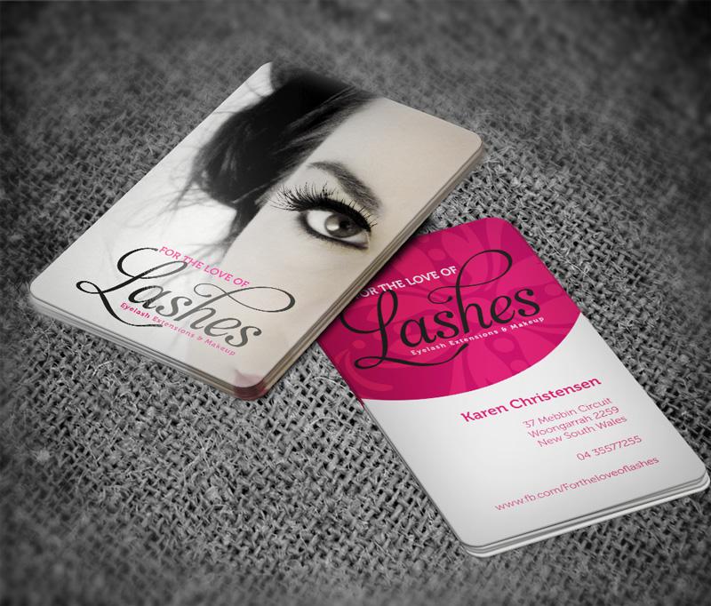 Business card design for eyelash extensions makeup studio