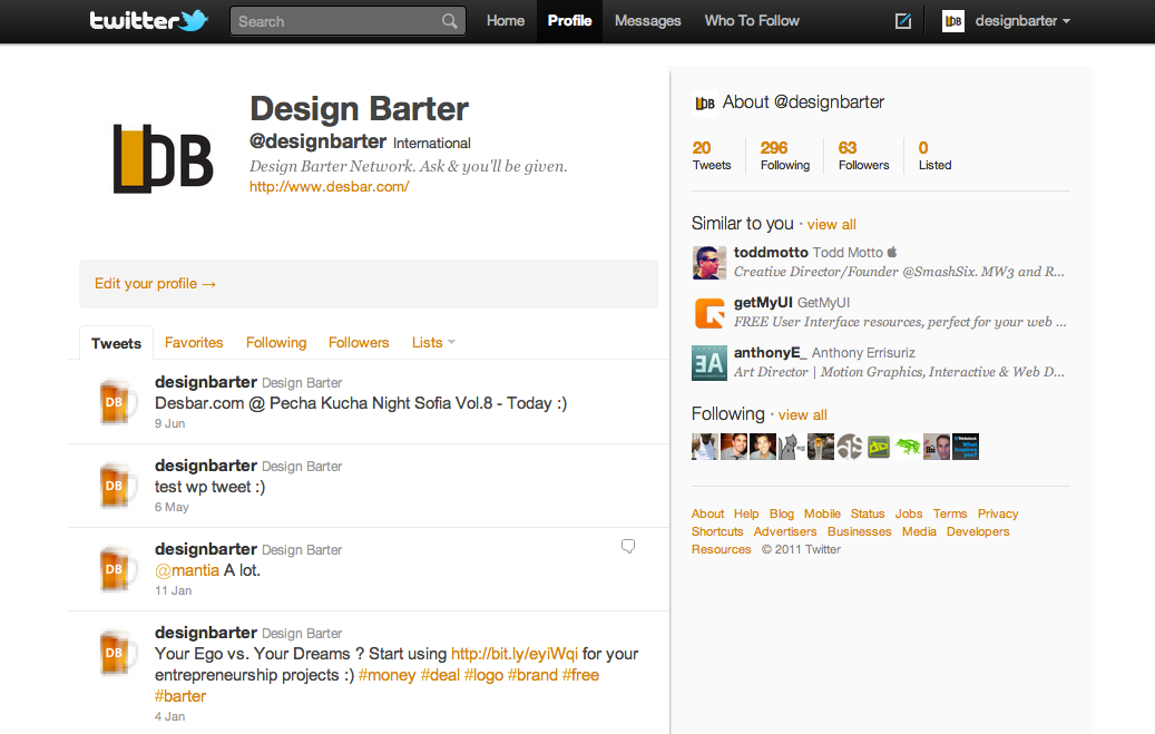 design barter twitter account design