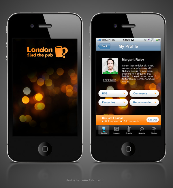 London find the pub iphone app design brand design Architecture designing app