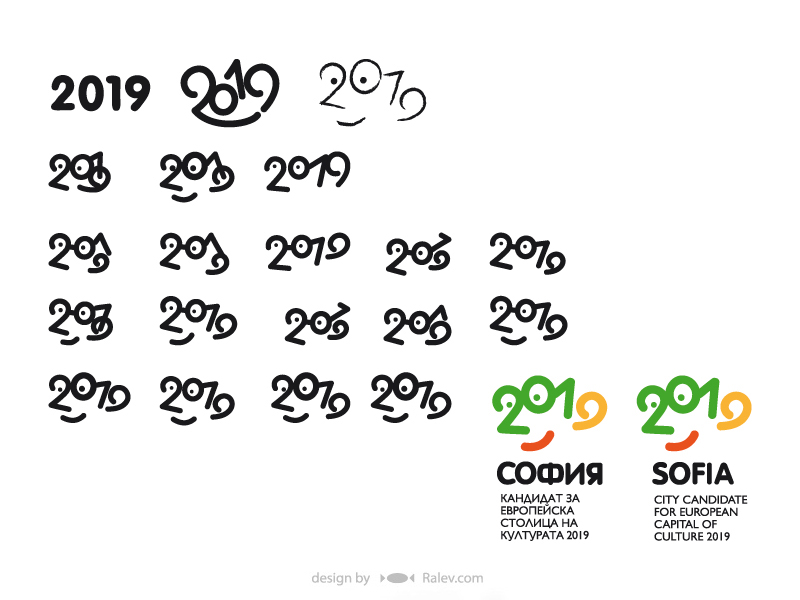 Sofia 2019 logo design stages