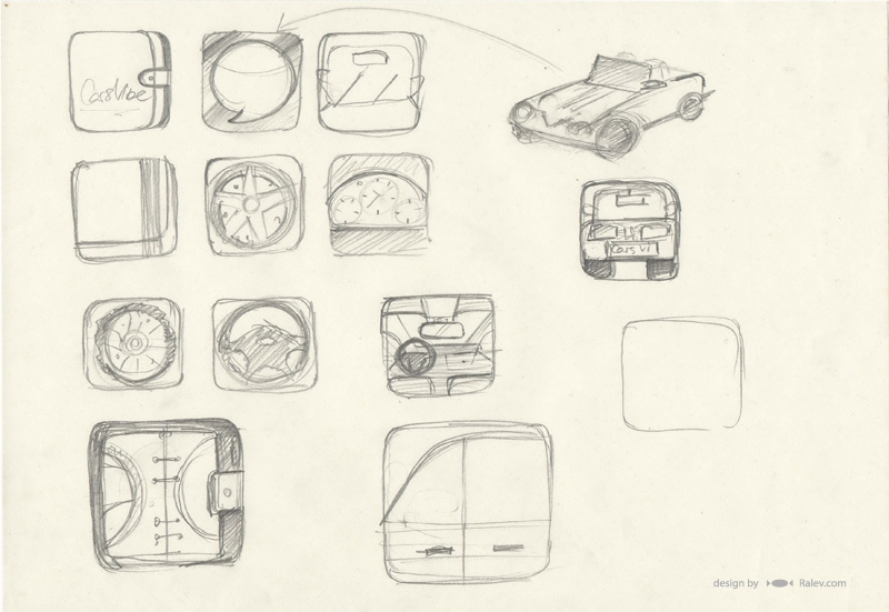 Cars Vibe - phone app icon sketches