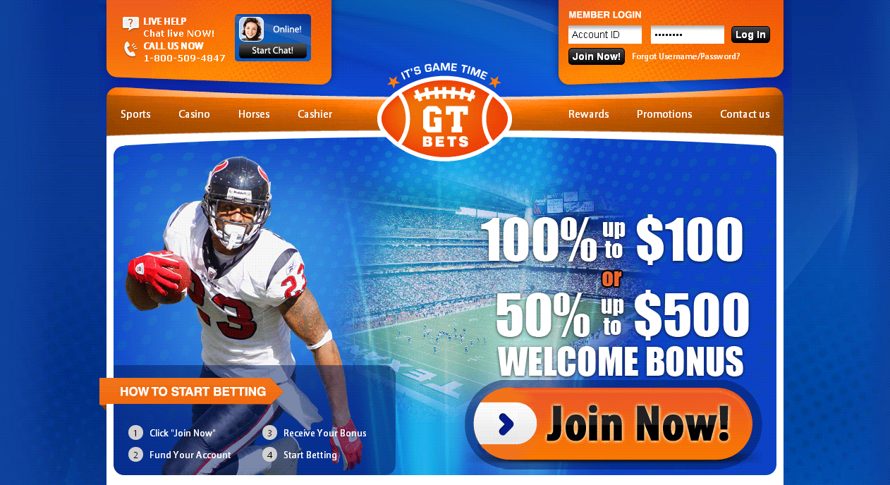 GT Bets - website homepage