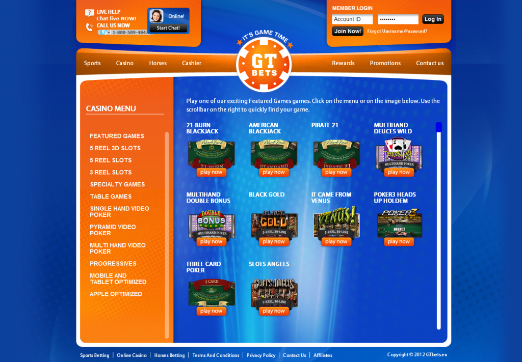 GT Bets - website page casino