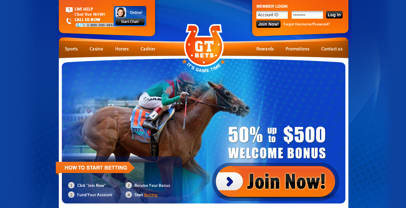 GT Bets - website page horse betting