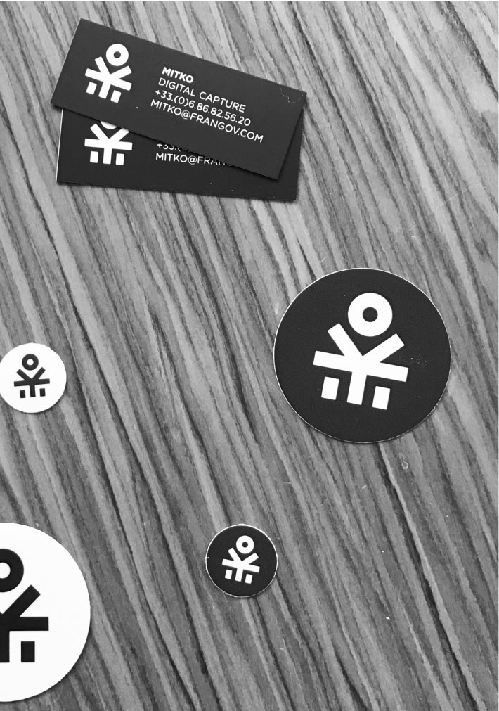 Frangov stickers and business card
